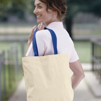 Natural Tote with Contrast-Color Handles Thumbnail